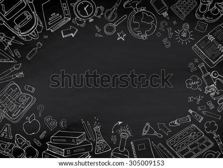 Back to school hand-drawn doodles blackboard background. Education sketchy with school supplies. - stock vector