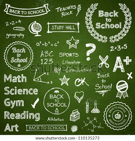 Back to school hand drawn text lettering and icons - stock vector
