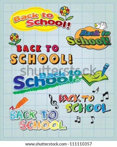 Back to school headline on blue graph paper - stock vector
