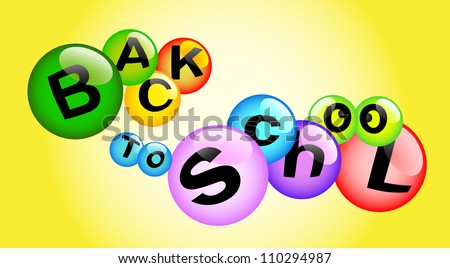 back to school - high quality 3d illustration multicolored bubbles - stock vector