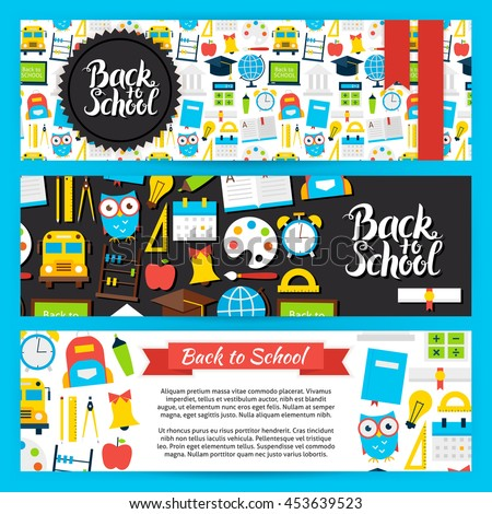 Back to School Horizontal Banners. Flat Style Design Vector Illustration of Brand Identity for Knowledge and Science Promotion. - stock vector