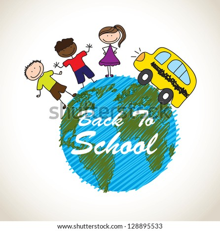 Back to school icons over white background - stock vector