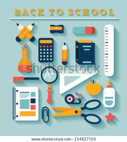 Back to school icons set - stock vector