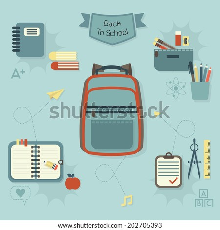 Back to school icons set - Modern flat design - stock vector