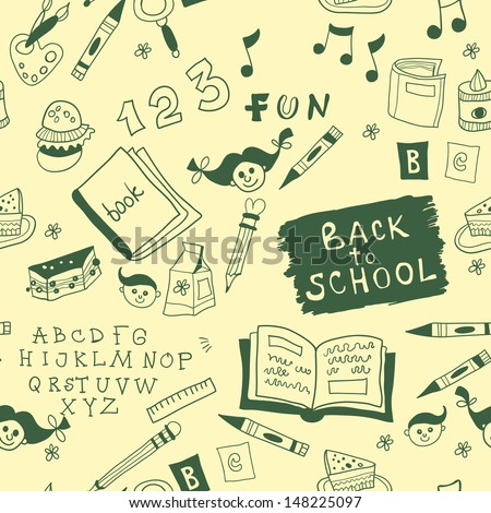 Back To School illustration. seamless - stock vector