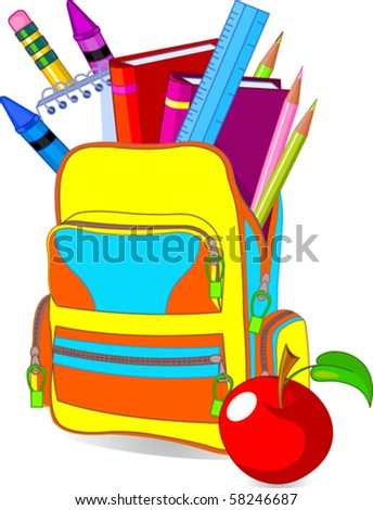Back to school image concept content school bag and so on? - stock vector
