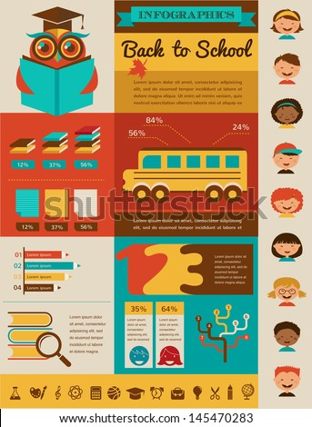 back to school infographic, data, icons and graphic elements - stock vector