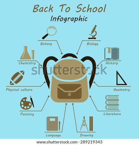 Back to school  infographics. EPS 10 vector illustration without transparency. - stock vector