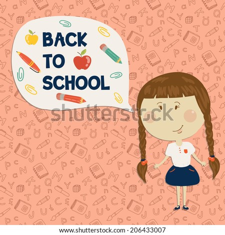 Back to school. Little girl holding say back to school. Vector illustration. Seamless pattern on background - stock vector