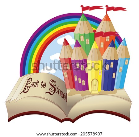 Back to School  Magic book and fabulous school castle, vector illustration - stock vector