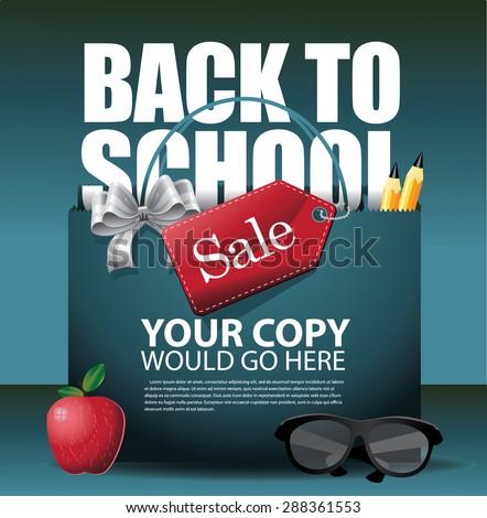 Back to School marketing background. EPS 10 vector Illustration for greeting card, ad, promotion, poster, flier, blog, article, social media, marketing - stock vector