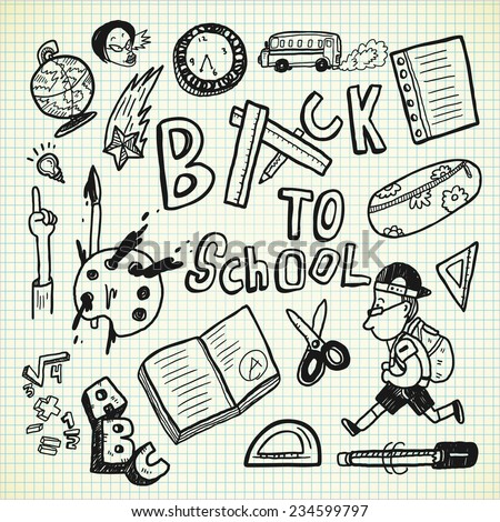 back to school object in doodle style - stock vector