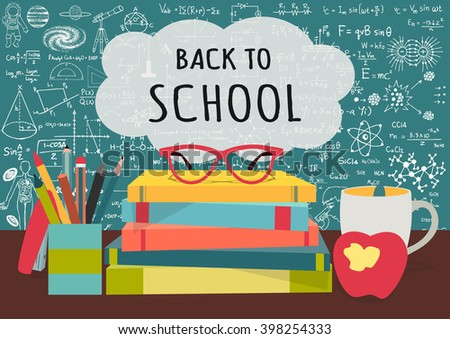 BACK TO SCHOOL on speech bubblesabove science books, pens box,apple and mug with science doodles on chalkboard background for banner, cards and voucher design elements - stock vector
