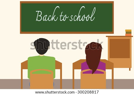 Back to school on the blackboard with students in the classroom, vector illustration. - stock vector