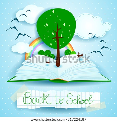 Back to school, open book with landscape and tree. Vector illustration eps10 - stock vector