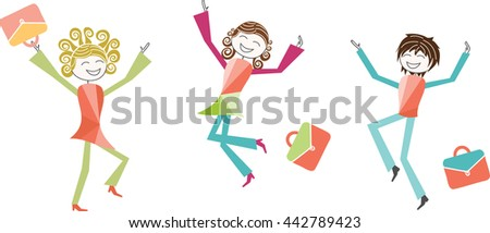 Back to School, or, summer vacations Children, parents or teachers jump with joy on the occasion of the holiday or for the back to school - stock vector