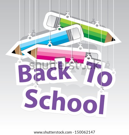 Back to School Paper Hanging Sign with Pencil paper hanging sign background -eps10 vector - stock vector