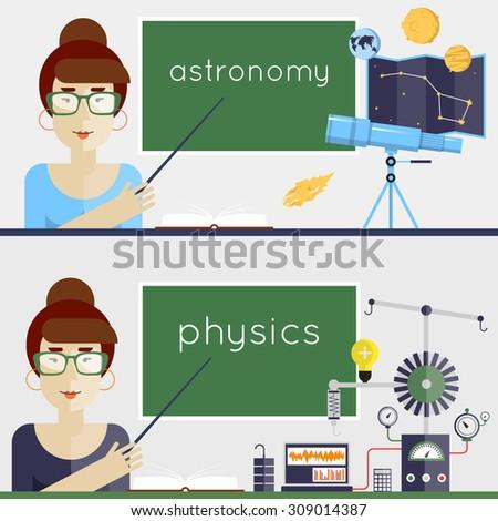 Back to school. Physics, Astronomy, Teacher explains the material. Flat design vector illustration. - stock vector
