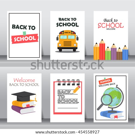 back to school poster set. flat design.background , backdrop or poster.  layout template in A4 size. vector illustration - stock vector