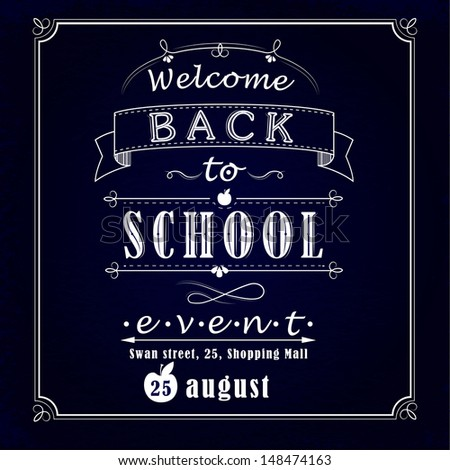 Back to school promotional chalkboard - stock vector