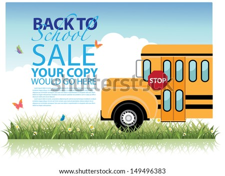 Back to School Sale Template. EPS 10 vector, grouped for easy editing. No open shapes or paths. - stock vector