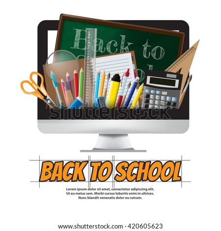 Back to school School supplies, stationery and Computer, vector illustration - stock vector