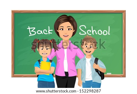 Back to school, School teacher with schoolboy and schoolgirl. Vector illustration - stock vector