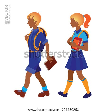 Back to school. Schoolboy and schoolgirl going to school. RGB EPS 10 vector illustration - stock vector