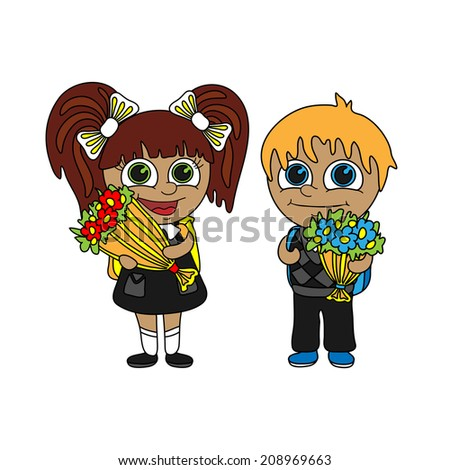 Back to school. Schoolboy and schoolgirl with bouquets of flowers.  - stock vector