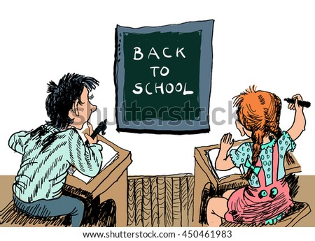 Back to school. Schoolchildren with blackboard. Sitting at their desks. Vector cartoon. Poster, cover of the textbook or notebook - stock vector