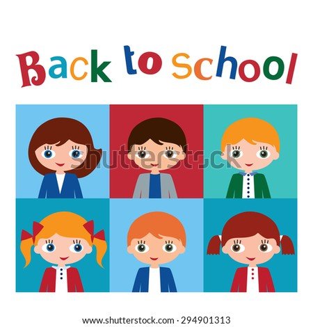 Back to school. Schoolchildren with books. School library. Vector illustration. - stock vector