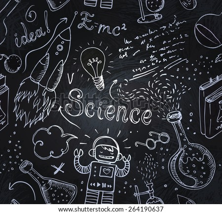 Back to School: science lab objects doodle vintage style sketches seamless pattern, vector illustration over a blackboard  - stock vector