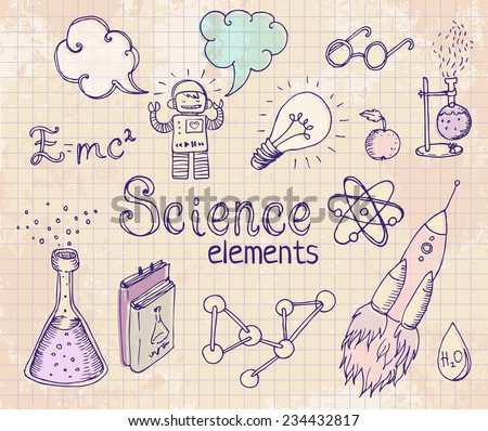 Back to school science lab objects doodle vintage style sketches set