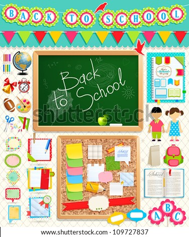 Back to school scrapbook elements. Vector illustration. - stock vector