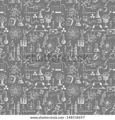 Back to school seamless background. Physics and chemistry. Can be used for wallpaper, pattern fills, textile, web page background, surface textures. Vector illustration.  - stock vector
