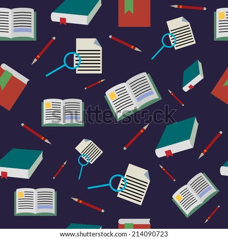 Back to school seamless pattern, books background, vector illustration. - stock vector