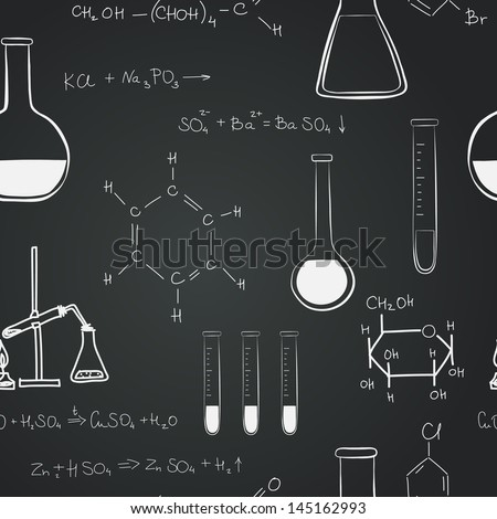 Back to school seamless pattern. Notebook doodles with chemical formulas,flasks with chemical reagents on chalkboard background. Hand drawn vector Illustration. - stock vector