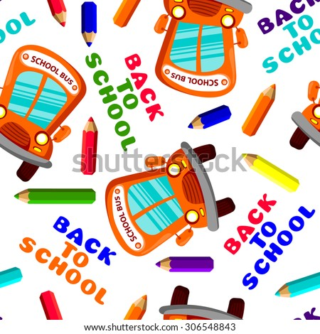 back to school seamless pattern with school bus and pencils. Vector illustration - stock vector