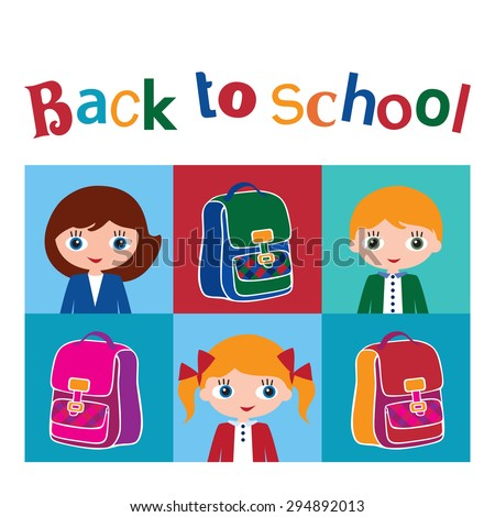 Back to school. Set of different colorful vector with various schoolgirls and schoolboys with different hairstyles and schoolbags. Vector illustration. - stock vector