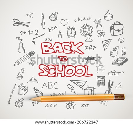 Back to school - set of school doodle illustrations with a pencil - stock vector