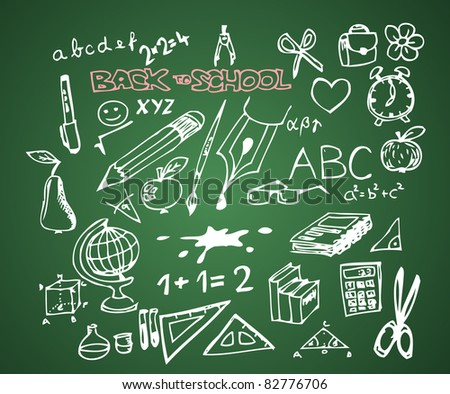 Back to school - set of school doodle vector illustrations on green blackboard - stock vector