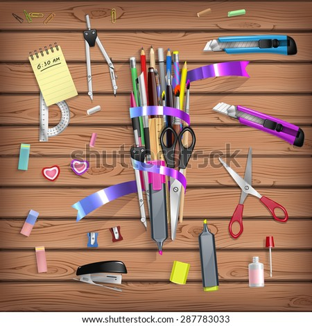 Back to School set with office stationery objects on wooden table in vector - stock vector