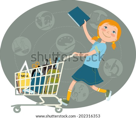 Back to school shopping. Elementary school student riding a shopping cart, filled with school supplies, vector cartoon - stock vector