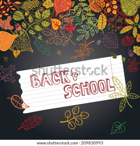 Back to School Supplies Sketchy  Doodles with  Swirls- Hand-Drawn.Vector Illustration Autumn leaves.Design Elements on chalkboard Background. Backdrop,background.Teachers day. - stock vector