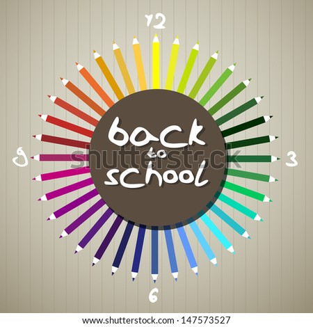 Back to school theme - pencils as clock - stock vector