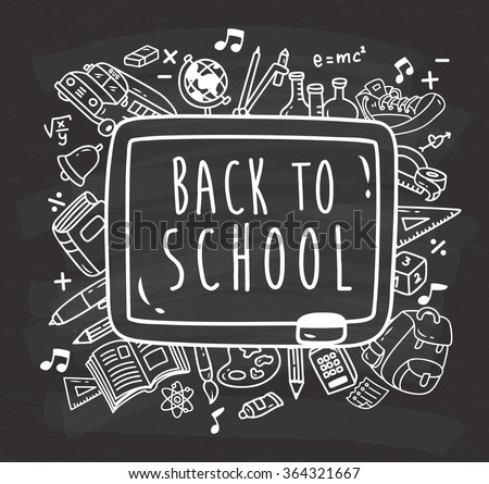 Back to school themed doodle on chalkboard background - stock vector