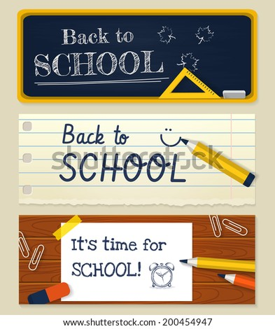 Back to school. Three horizontal banners with stationery. Vector illustration. - stock vector