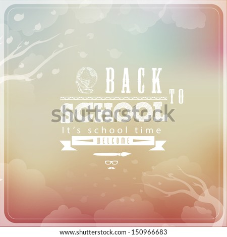 Back to School Typographic Elements - Vintage Style - stock vector