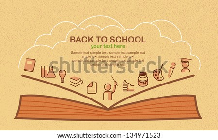 Back to school, vector background with education icons. - stock vector