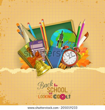 Back to school. Vector Collection of colorful School Supplies in vintage style. - stock vector